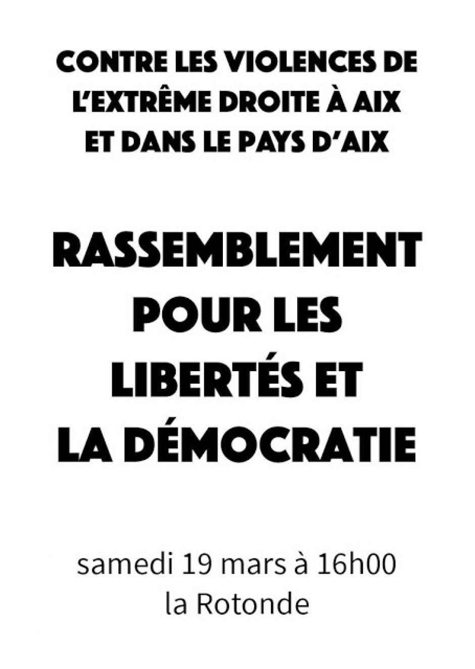Contre les violences de l'extrême-droite à Aix (19/03/2016 - 16h à la Rotonde)