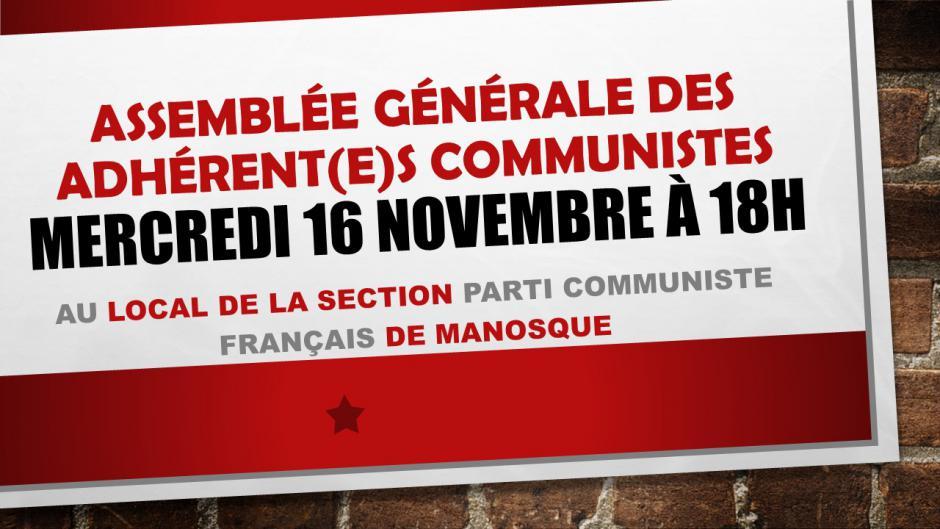 AG des adhérent(e)s PCF de Manosque : Mercredi 16 Novembre à 18h