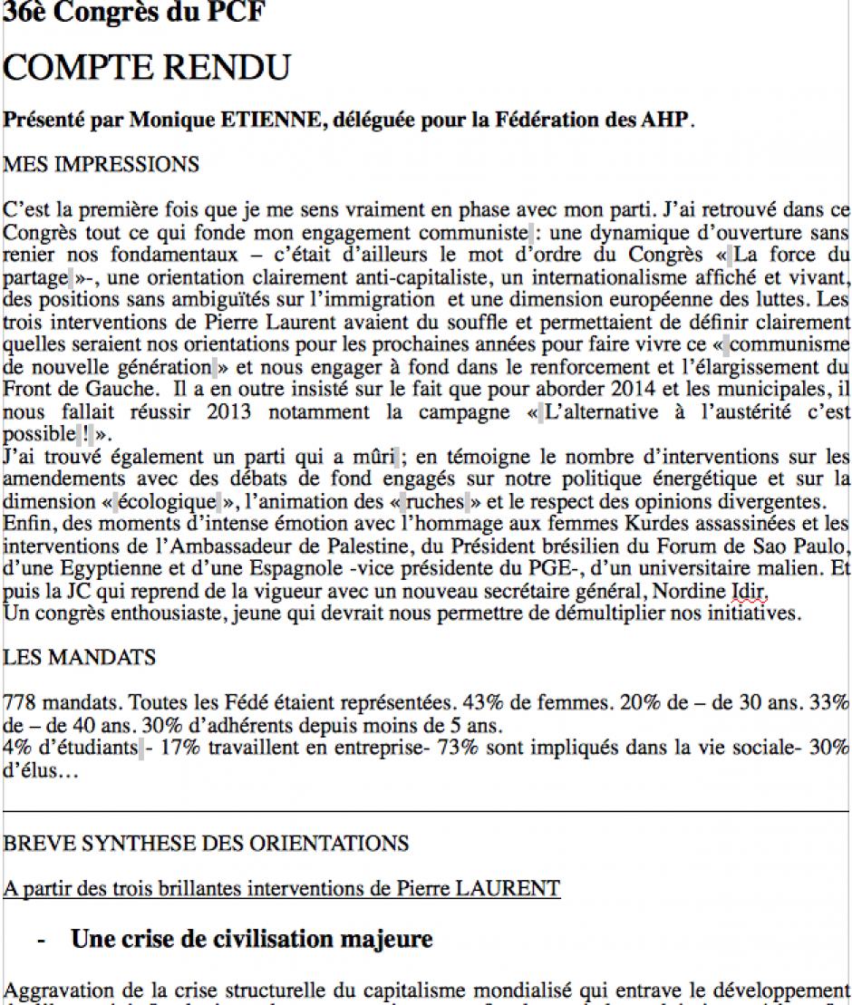 COMPTE RENDU du 36è Congrès du PCF de Monique E.
