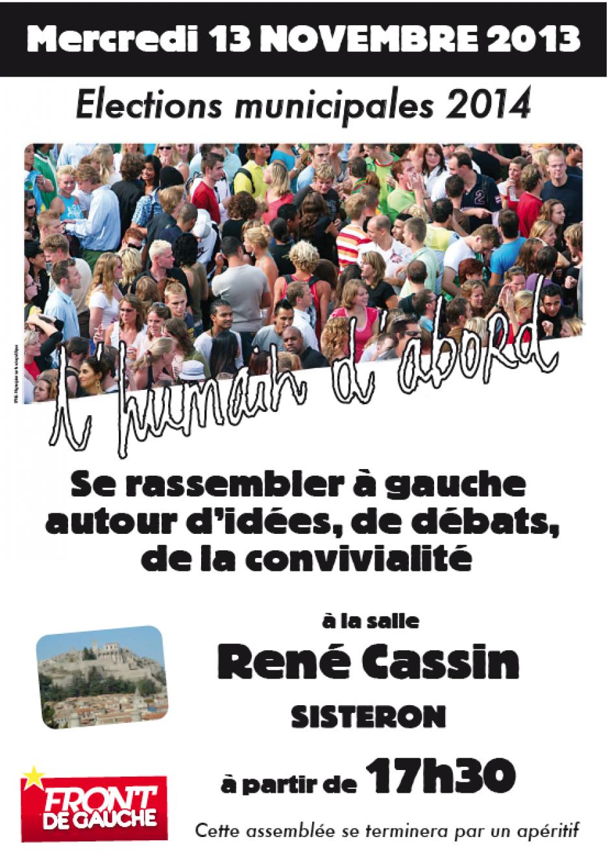 Rencontre publique à Sisteron le 13 Novembre