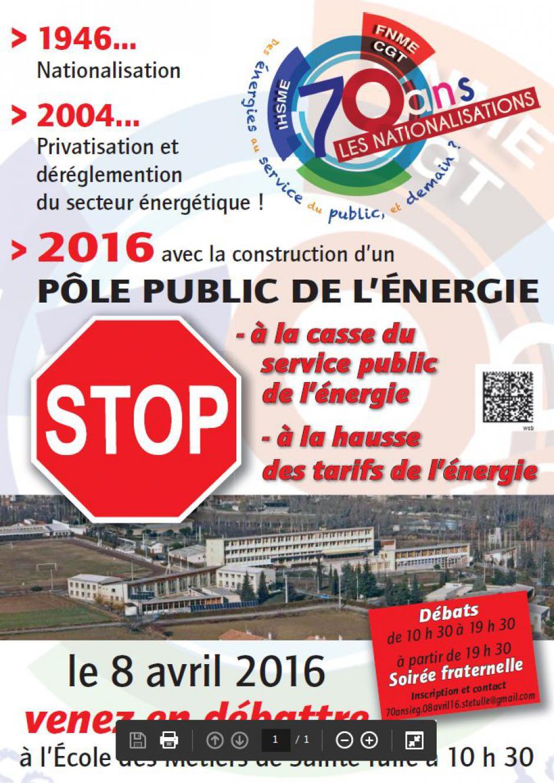 8 avril 2016, 70 ans de la nationalisation des industries électrique et gazière - Ecole des Métiers de Sainte-Tulle
