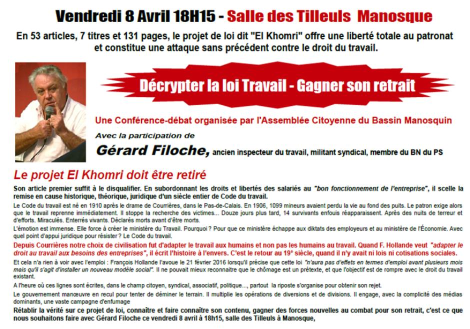 Vendredi 8 avril 2016 - 18h15 à Manosque : Conférence-Débat avec Gérard Filoche,