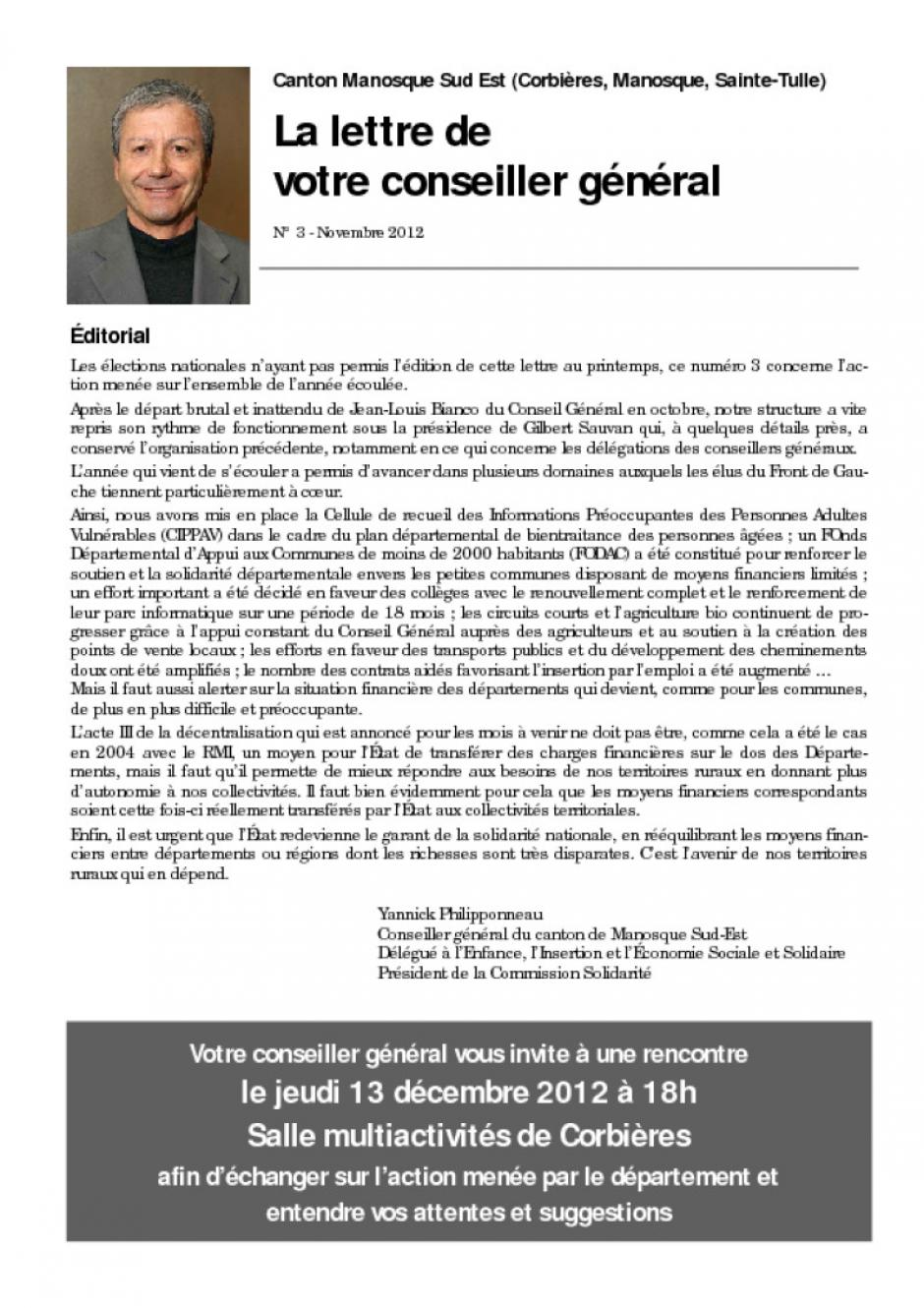 La lettre de votre conseiller gnral