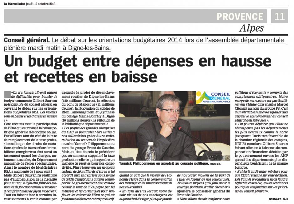 Conseil Général. Débat d'Orientation Budgétaire pour 2014 Déclaration de Yannick Philipponneau au nom du Groupe Front de Gauche