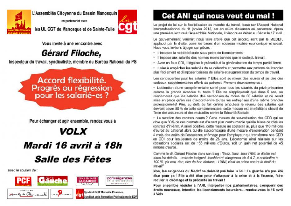 Gérard Filoche à Château Arnoux et à Volx - 2013