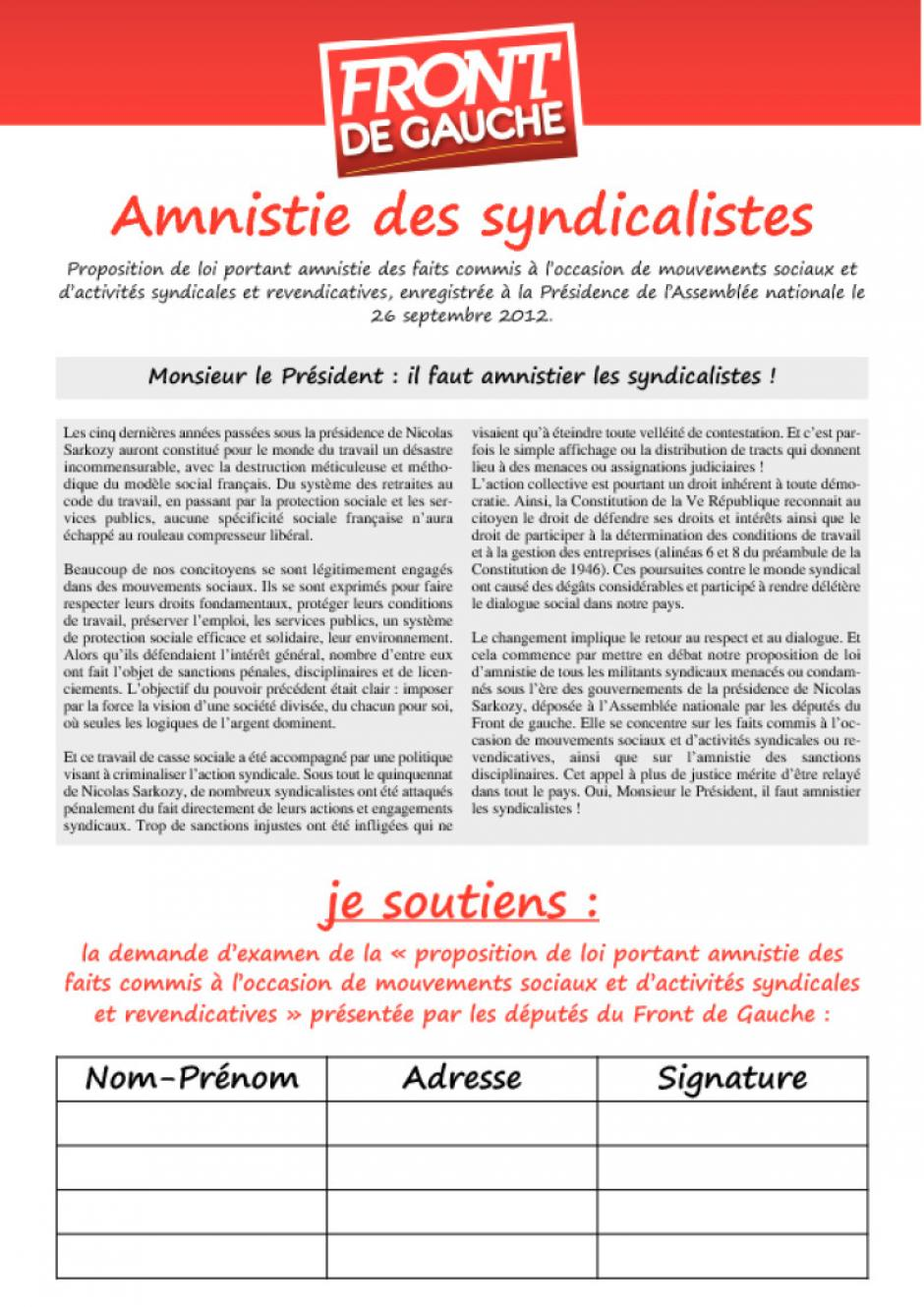 Monsieur le Prsident : il faut amnistier les syndicalistes !