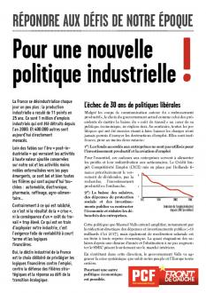 4 PAGES - Pour une nouvelle politique industrielle !