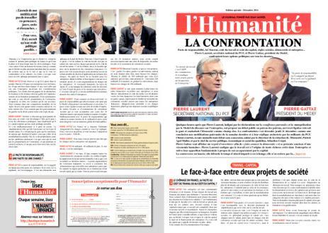 Débat Pierre Laurent / Pierre Gattaz dans l'Humanité