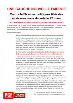 UNE GAUCHE NOUVELLE EMERGE - Contre le FN et les politiques libérales saisissons nous du vote le 22 mars