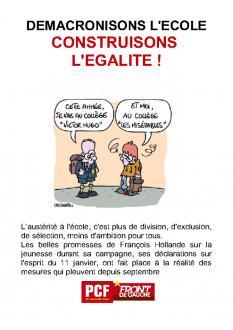 DEMACRONISONS L'ECOLE CONSTRUISONS L'EGALITE !