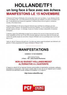 TRACT - HOLLANDE/TF1 un long face à face avec ses échecs MANIFESTONS LE 15 NOVEMBRE