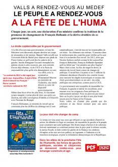 TRACT - Valls a rendez-vous au MEDEF Le peuple a rendez-vous à la fête de l'Huma